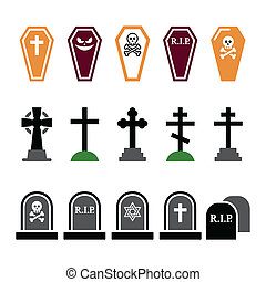 Halloween, graveyard colorful icons