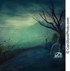 Halloween graveyard - Halloween design background with...