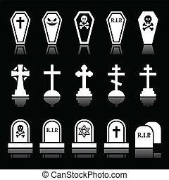 Halloween, graveyard icons set