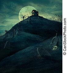 Halloween graveyard - Halloween design background with...