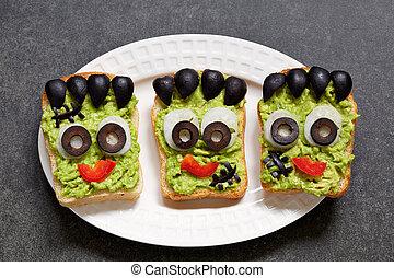 Halloween green monster sandwich