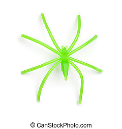 Halloween - Green Plastic Spider - Isolated on White Background