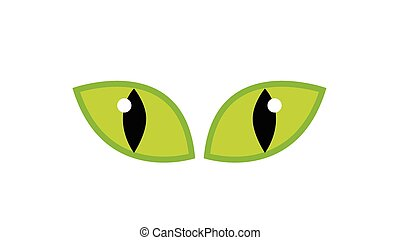 Halloween green spooky eyes vector isolated on white background. Illustration of Evil, dangerous, wild angry cat iris cartoon