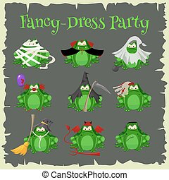 Halloween green toads fashion costume outfits. Cartoon style vector illustration isolated on white background