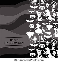 Halloween greeting card on gray background