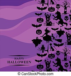 Halloween greeting card on purple background