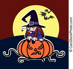 Halloween greeting card with funny witch and angry pumpkin