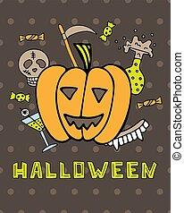 Halloween greeting card with pumpkin and symbols of a holiday.