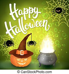 Halloween greeting card with witch cauldron, hat, pumpkin, angry spiders, net and brush lettering on green background with bubbles. Decoration for poster, banner, flyer design. Vector illustration.