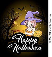 Halloween greeting card with witch