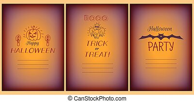 Halloween greeting vector cards set with doodles
