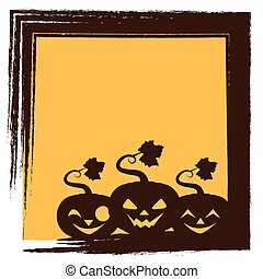 Halloween greeting with three pumpkins silhouette and frame