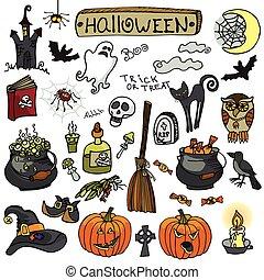 halloween, griffonnage, éléments, set.isolated, coloré, icônes