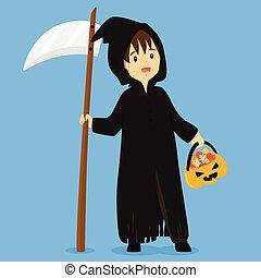 Halloween Grim Reaper Costume Vector Illustration