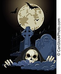 Halloween Grim Reaper - Illustration of Halloween horrible...