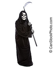Halloween Grim Reaper with a Scythe - Costume of a skeleton...