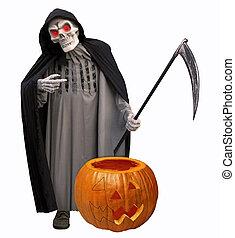 Halloween grim reaper with pumpkin