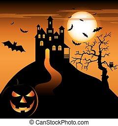 halloween, grimacer, hanté, nuit, château, citrouille