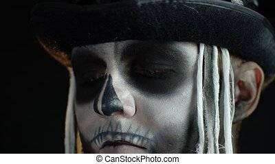 halloween, gros plan, coup, regarder, yeux, maquillage, ...