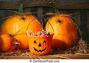 halloween, groupe blocs bonbon, rempli