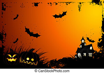 Halloween grunge background with grass bat and hunting house