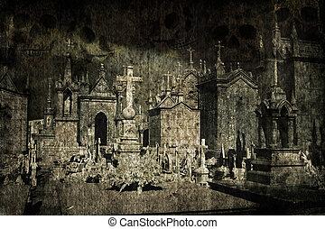 halloween, grunge, cementerio