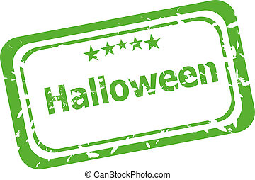 Halloween grunge rubber stamp isolated on white background