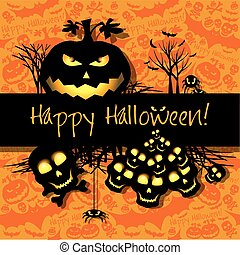 Halloween grunge vector card