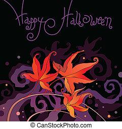 halloween, hälsningar, kort