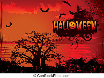 Halloween. - Halloween night. Vector art-illustration on a...
