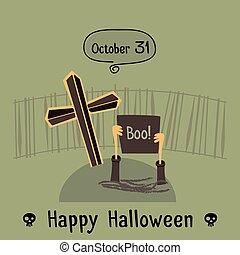 Halloween hand drawn card design. Vector illustration.
