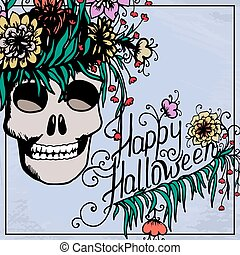 Halloween hand drawn card with skull in flowers.