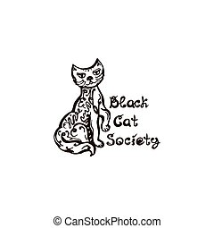 Halloween Hand Drawn Cat with Phrase Isolated on White Background