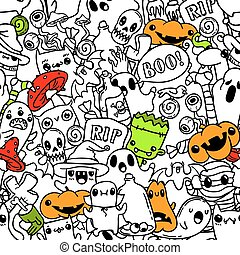 Halloween hand drawn doodle pattern. Colored vector sketch background.