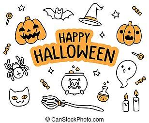 Halloween hand drawn doodle set