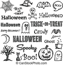 Halloween hand-drawn elements - Halloween hand drawn text ...