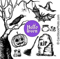 Halloween Hand Drawn Set
