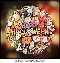 Halloween hand lettering and doodles elements and symbols emblem. Vector blurred background. Funny vector artwork