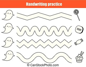 Halloween handwriting practice sheet. Educational children game, printable worksheet for kids.