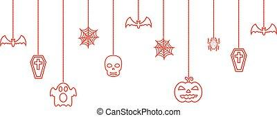 Halloween hanging ornaments background. Vector illustration