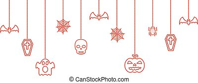Halloween hanging ornaments background. Vector illustration