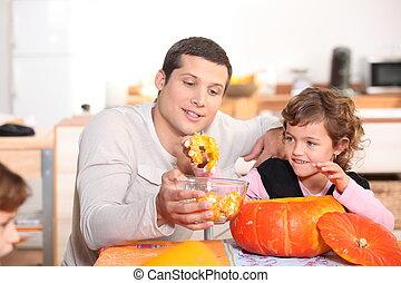 halloween, hans, dotter, tid, fader