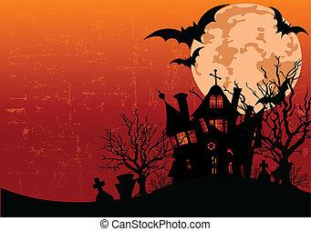 halloween, hanté, fond, h