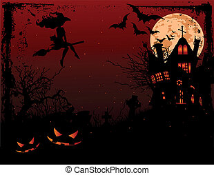 halloween, hanté, illustration