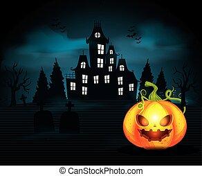 halloween, hanté, scène, château, citrouille
