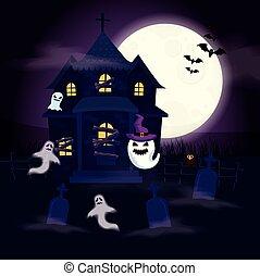 halloween, hanté, scène, maison, fantômes