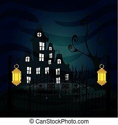 halloween haunted castle in dark night