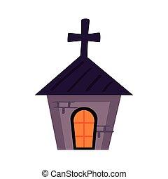 halloween haunted church tower icon vector illustration design