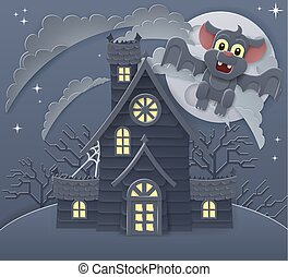 Halloween Haunted House and Bat Cartoon Scene