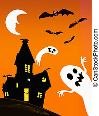 illustration og haunted house with ghosts